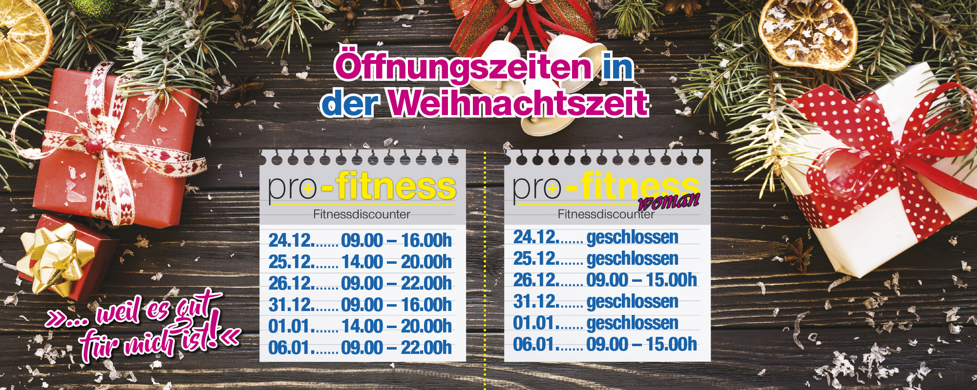 Slider Weihnachtsöffnungszeiten - Pro Fitness